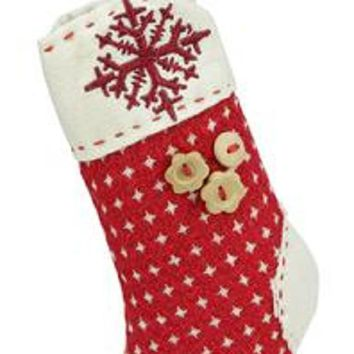 "7.5"" Plush Red Holiday Stocking with Snowflake Embroidered Burlap Cuff Decorative Christmas Ornament"