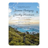 Coastal Beach Clifftop String Lights Wedding Card
