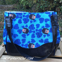Tina s Butts in Blue- Handmade Charlotte City Tote Purse with Glitter Vinyl
