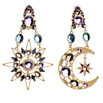 Streetstyle  Casual Pair Of Faux Crystal Sun And Moon Earring