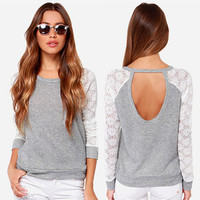 American Bae Open Back Lace Top