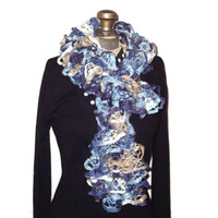 Ruffle Scarf Faded Denim Handmade Knitted