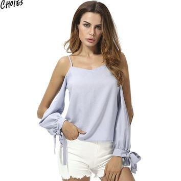 Light Blue Cold Shoulder Bow Cuff Chiffon Blouse Women Spaghetti Strap Long Sleeve Cut Out V Neck Summer High Street Top