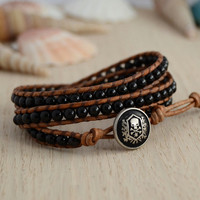 Triple wrap black and brown bracelet. Obsidian bead urban skull button bracelet.