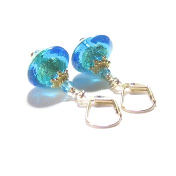 Murano Glass Aqua Bi-cone Gold Earrings, Leverback Earrings