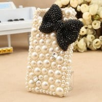 FancyG® Pearl Series Luxury 3D Elegant White Pearls Back Cover Case for iPhone 5 iPhone 5S - Black Crystal Bow