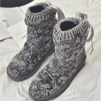 female butterfly knot cotton shoes short boots