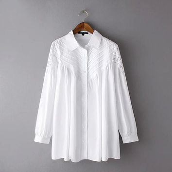 Long Sleeve Lace Patchwork Single Breasted Loose Blouse
