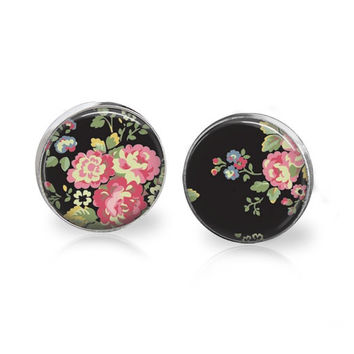 Classy Floral Print Earrings Black and Pink Vintage Rose Pattern Background Wallpaper Edwardian Victorian English Rose Glass Black Floral