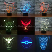 LED Pokemon 3D 7 Color Changing Lamps