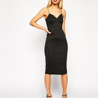 ASOS Scuba Deep Plunge Midi Dress at asos.com