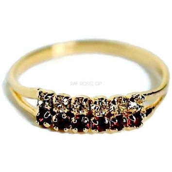 Double Road of Cz 18KTS of Gold Plated Ring