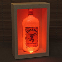 Fireball Whiskey Shadowbox Color Changing Bottle Lamp Bar Light  LED Remote Controlled Eco Friendly LED -Bodacious Bottles-