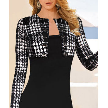 Black Houndstooth Buttoned Blazer Accent Long Sleeve Plaid Bodycon Dress