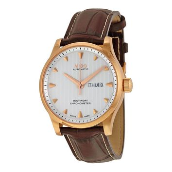 Mido Multifort Automatic Silver Dial Brown Leather Watch M0054313603100