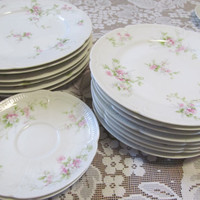 Limoges Set of 2 Saucer Plates Limoges France CH Fields Haiviland GDA Antique Plates Roses Wedding Plates Fine Dining Dishes Luxury Dishes