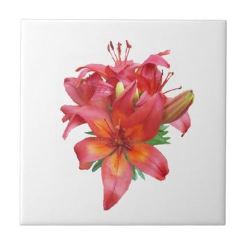 Orange Day Lilies Ceramic Tile