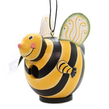 Home & Garden BUMBLEBEE GORD-O BIRDHOUSE Albesia Wood Hand Painted Se3880096
