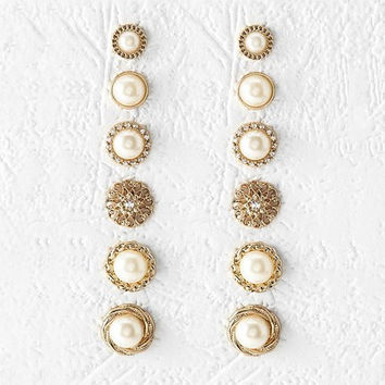 Golden Designed Faux Pearl Round Earrings