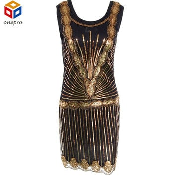 Women Vintage 1920s Inspired Shining Black Gold Beading Sequin Art Deco Flapper Dress Sleeveless Party Dress