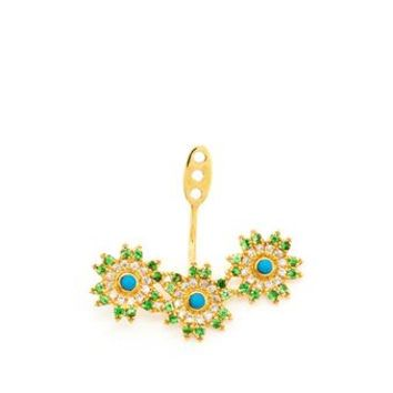 YVONNE LEON | 18k Gold Triple Flower Lobe Earring | Browns fashion & designer clothes & clothing