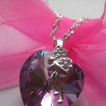Children's gifts, Swarovski Crystal, Cubic Zirconia Crystal and sterling silver children's necklace, christmas gifts