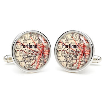USA city map  Portland  cufflinks , wedding gift ideas for groom,gift for dad,great gift ideas for men,groomsmen cufflinks,