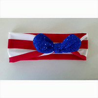 Red White Blue Jersey Knit knot Headband, knot headwrap. Red and White stripe. Baby headband. Baby knot headwrap
