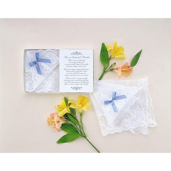 Brides Lace Bow and Poem Card White Handkerchief