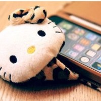 Brown Doll Leopard Hello Kitty TPU Leather Iphone 4 4s Case Cover Card Wallet