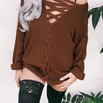 New Coffee One Off Shoulder Lace-up Long Sleeve Wear Two Slouchy Casual Sweaters Pullover