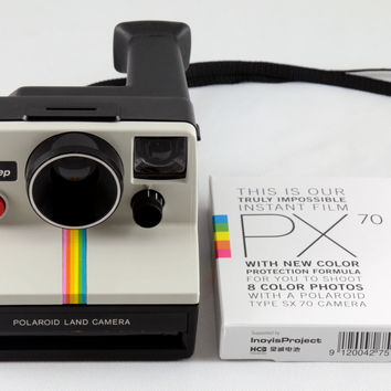 Polaroid SX-70 One Step White Rainbow Stripe Instant Land Camera Tested & Working with Impossible Project PX 70 Color Protection Film
