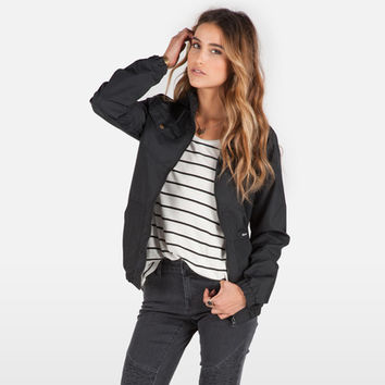 Volcom Womens Enemy Lines Windbreaker Jacket - Black-Jackets-Clothing-WOMEN'S - Sport Chalet