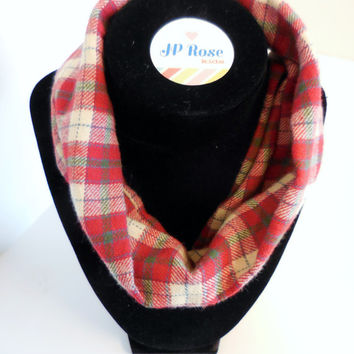 Plaid Scarf Bib, Infant Infinty Scarf, Drool Bib, Red, Green, and Cream  for Babies Size 4 months to size 12 months