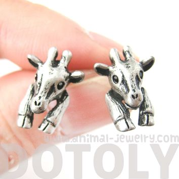 Baby Giraffe Realistic Animal Stud Earrings in Silver | Animal Jewelry