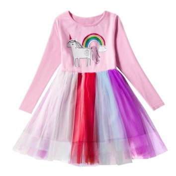 Hot Baby girl dress Princess tutu rainbow dress Cartoon Unicorn christmas dress toddler girl winter clothes Infantil Vestido
