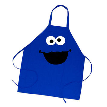 Adult Cookie Monster apron, children's costume, cosplay, christmas, dress up, birthday, gifts, presents, sesame street, cookies, gifts
