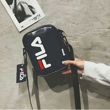 FILA New fashion letter print leisure small couple shoulder bag Black