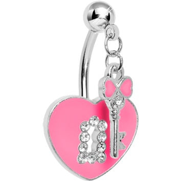 Double Mount Pink Key To My Heart Belly Ring | Body Candy Body Jewelry