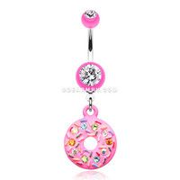 Pink Frosted Sprinkled Donut Belly Button Ring (Pink)
