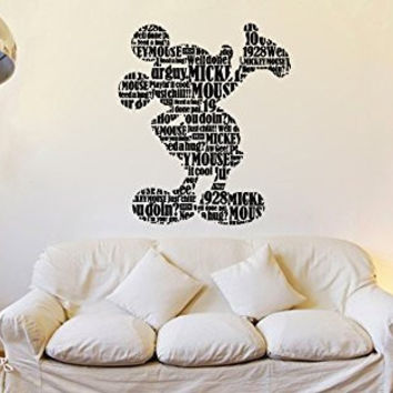 Mickey Mouse Inspired Text Typography Silhouette Vinyl Wall Words Decal Sticker Graphic