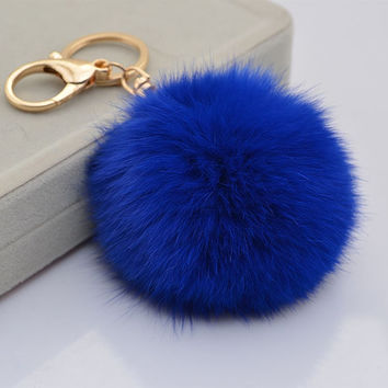 Navy Fur ball charm pom pom keychain for car key ring Bag Charm Pendant