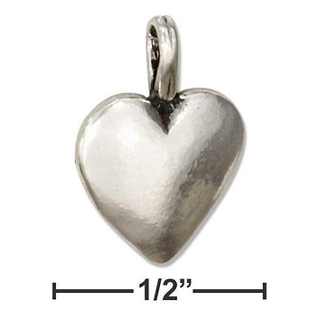 Sterling Silver Charm:  Half Puffed Heart Pendant