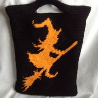 halloween, bag, halloween bag, trick or treat bag, witch, candy bag, gift idea, halloween gift, witch on stick, broom, witch on a broom
