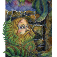 """Giclee Fine Art Print Illustration of Musician Sam Beam of Iron and Wine with Southern Ferns and Snake 8"""" x 10"""""""