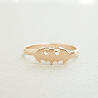 Cute batman ring in rose gold batman adjustable by janesshopinetsy