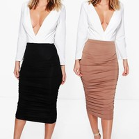 Steph 2 Pack Rouched Side Jersey Midi Skirts | Boohoo