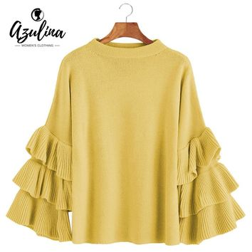 AZULINA Layered Sleeve Flouncy Pullover Sweater Women O Neck Flare Sleeve Ruffle Autumn Ladies Sweet Basic Loose Knitted Sweater