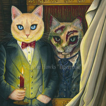 Dorian Gray Cat Art Cat Painting The Picture Of Dorian Gray Gothic Cat Art Oscar Wilde Literary Cat Art Print 8x10 Cat Lovers Art