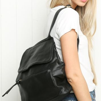 BLACK FAUX-LEATHER BACKPACK